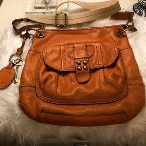 Medium Orange Fossil Crossbody Handbag